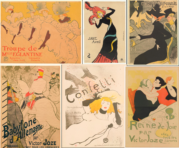 Toulouse-Lautrec Lithographs.  Collage: helenoppenheim.com