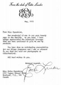 Memories. Estée Lauder Letter - 1973