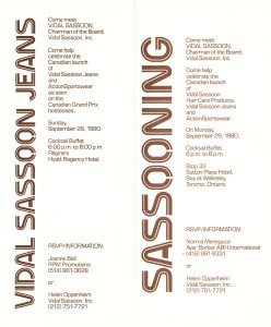 Memories Vidal Sassoon Invitations - 1980