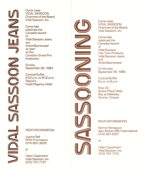 Memories, Vidal Sassoon Invitations - 1980