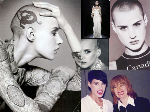 Eva Salvail, Bald Model With Tattoo On Scalp – '90s