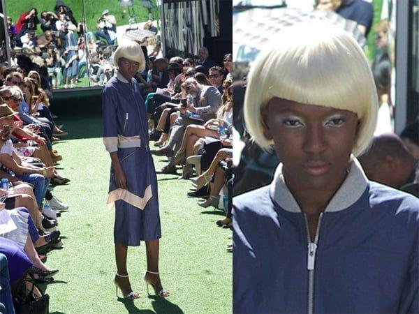 Asymmetrical Slant White Wig - 2016