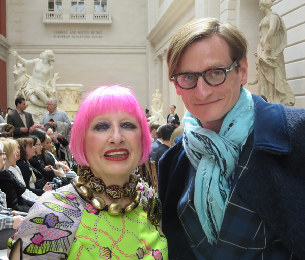 Hot Pink Bobbed Hair on Zandra Rhodes - 2013