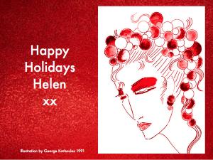 Happy Holidays Balloon Illustration - 1991